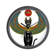 Ornate Eqyptian Cat Godess Wall Clock