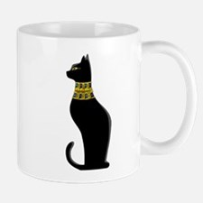 Black Eqyptian Cat with Gold Jeweled Collar Mugs