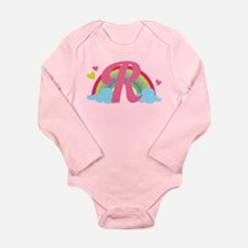 Letter R Rainbow Monogrammed Long Sleeve Infant Bo