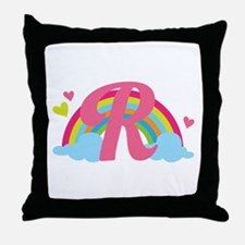 Letter R Rainbow Monogrammed Throw Pillow
