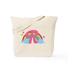 Letter R Rainbow Monogrammed Tote Bag