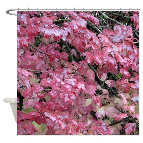 Pink Fall Color Leaves Shower Curtain By Ursinelogic