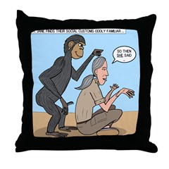 Monkey Grooming Throw Pillow