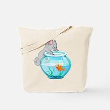 Curious Cat Fishing in Goldfish Bowl Tote Bag
