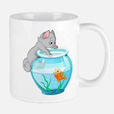 Curious Cat Fishing in Goldfish Bowl Mugs