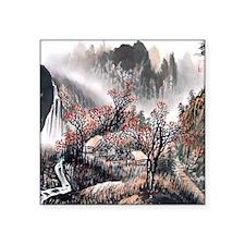 "Beautiful Mountain View Square Sticker 3"" x 3"""