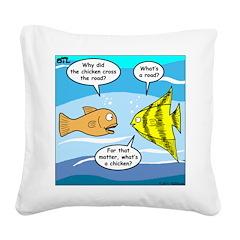 Stupid Fish Jokes Square Canvas Pillow