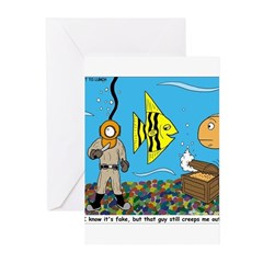 Fish Tank Diver Greeting Cards (Pk of 10)