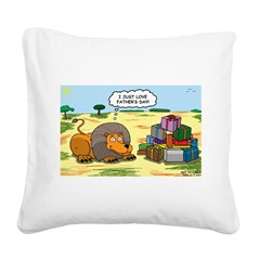 Lion Fathers Day Square Canvas Pillow