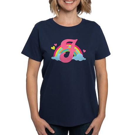Letter F Rainbow Monogrammed Women's Dark T-Shirt