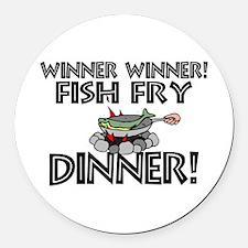Winner Winner Fish Fry Dinner Round Car Magnet