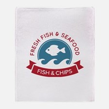 Fish And Chips Seafood Logo Throw Blanket