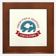 Fish And Chips Seafood Logo Framed Tile