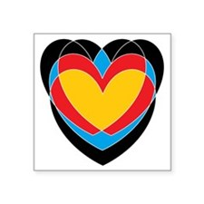 """Archery Hearts Square Sticker 3"""" x 3"""""""