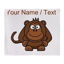 Custom Cartoon Monkey Throw Blanket