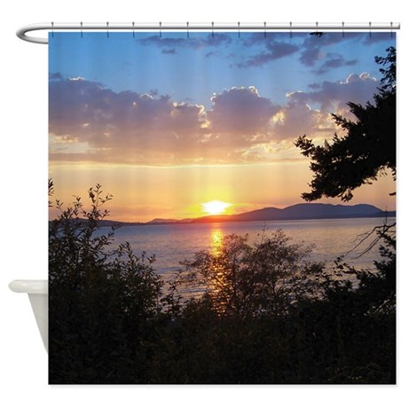 Chuckanut Drive Sunset Shower Curtain