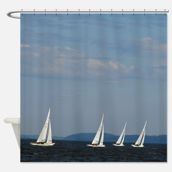 Bellingham Bay Boat Races Shower Curtain