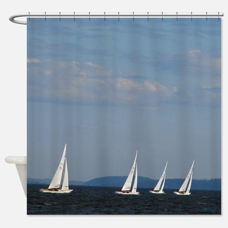 Bellingham Bay Boat Races Shower Curtain - Sailing Shower Curtains Sailing Fabric Shower Curtain Liner