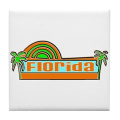 Florida Green Palms Tile Coaster