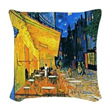 Van Gogh - Cafe Terrace Woven Throw Pillow