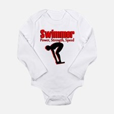 BORN TO SWIM Long Sleeve Infant Bodysuit
