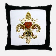 Monogram D Fleur de lis 2 Throw Pillow
