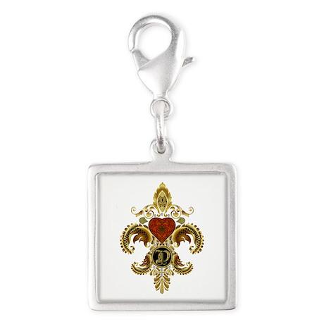 Monogram D Fleur de lis 2 Silver Square Charm