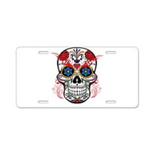 Sugar Skull Aluminum License Plate