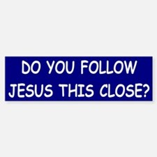Blue & White Follow Jesus Bumper Bumper Bumper Sticker