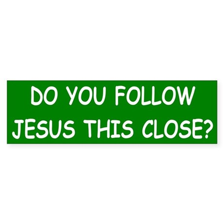 Green & White Follow Jesus Bumper Sticker