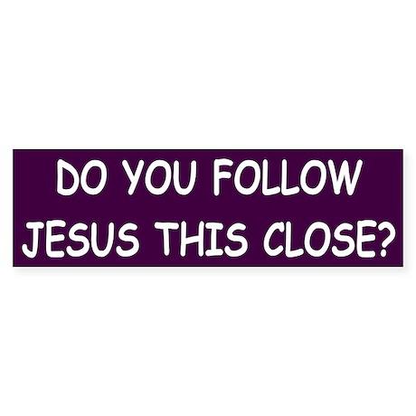Purple & White Follow Jesus Bumper Sticker