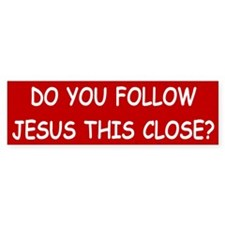 Red & White Follow Jesus Bumper Bumper Sticker