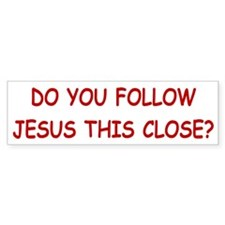 White & Red Follow Jesus Bumper Bumper Sticker
