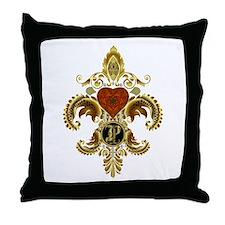 Monogram P Fleur de lis 2 Throw Pillow
