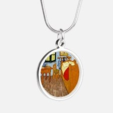 Van Gogh - Vincent's Bed in  Silver Round Necklace