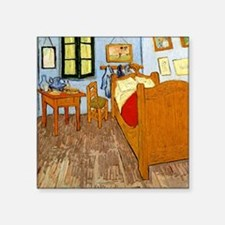 "Van Gogh - Vincent's Bed in Square Sticker 3"" x 3"""
