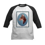 Red Doberman Pinscher Kids Baseball Jersey