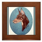 Red Doberman Pinscher Framed Tile