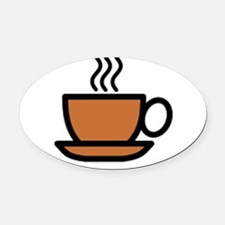 Hot Cup of Coffee Oval Car Magnet