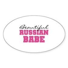 Russian Babe Oval Decal