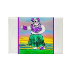 Hula Bulldog Rectangle Magnet