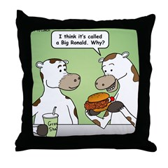 Cow Fast Food Throw Pillow