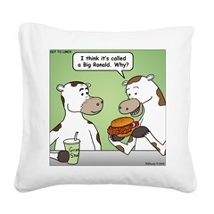Cow Fast Food Square Canvas Pillow