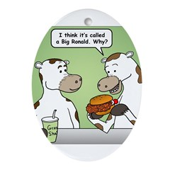 Cow Fast Food Ornament (Oval)