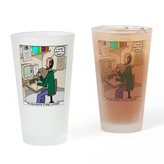 Cartoonist at Work Drinking Glass