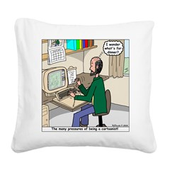 Cartoonist at Work Square Canvas Pillow