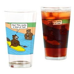 Bear Kayaking Drinking Glass