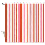 Pink Orange Stripe Shower Curtain