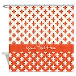 Personalized Orange Fleur De Lis Shower Curtain