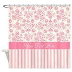 Personalized Pink Ticking Stripe Floral Shower Cur